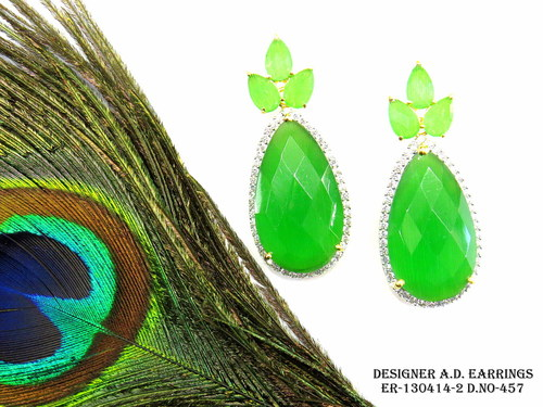 Designer A.D Earring,Diamond earring,Pan Shape Earring