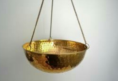 hanging copper bowl