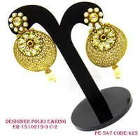 Flower Shape Design Polki Earring