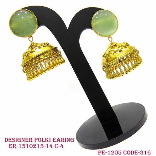 Designer Polki Earring,Polki Earring,Antique Earring,Round Shape Earring