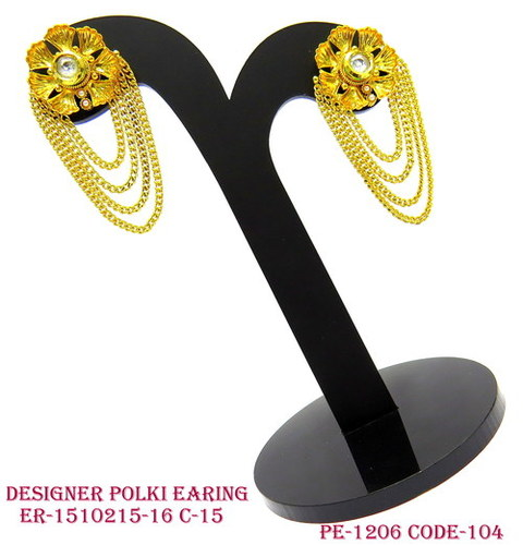Designer Polki Earring,Polki Earring,Antique Earring,Flower Shape Top with Hanging Chain