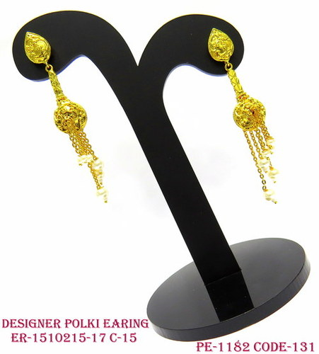 Designer Polki Earring,Polki Earring,Antique Earring,Pan Shape Top Earring