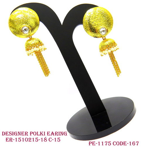 Designer Polki Earring,Polki Earring,Long Top With Small Jhumka