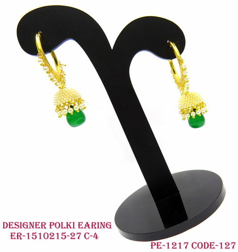 Designer Polki Earring,Polki Earring,Antique Earring,Ring type Jhumka Earring
