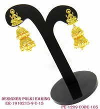 Designer Polki Earring,Polki Earring,Antique Earring,Temple Earring with Jhumka