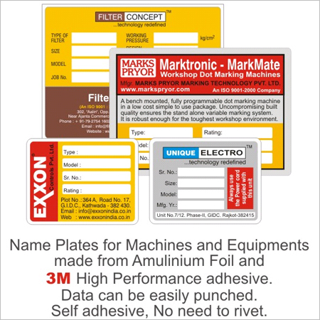 Aluminum Name Plates for Machines