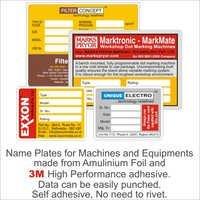 Aluminum Name Plates For Machines