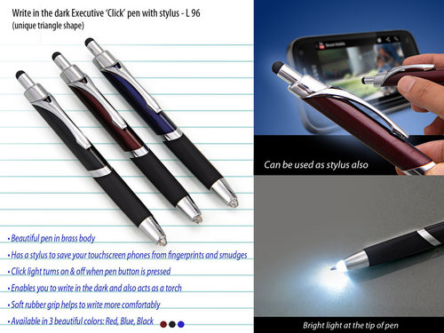Executive Click pen with stylus - Brass Body