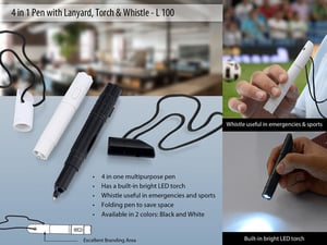 4 in 1 pen with lanyard, torch & whistle