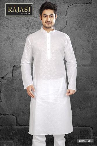 Mens White Cotton Kurta
