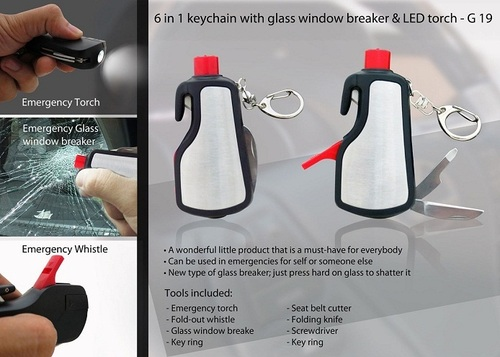 6 In 1 Keychain With Glass Window Breaker & Led To