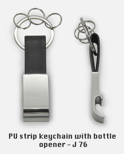 PU strip keychain with bottle opener