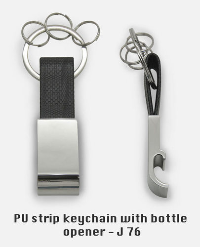 PU strip keychain with bottle opener