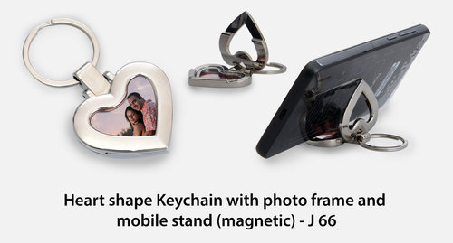 Keychain with photo frame and mobile stand