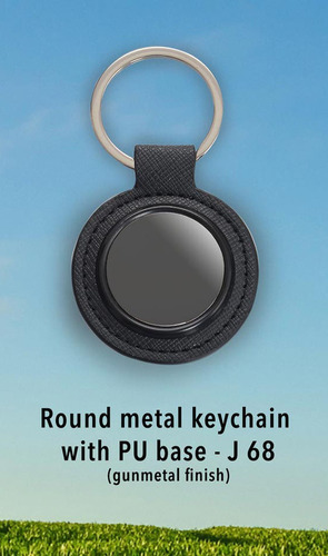Metal keychain with PU base (gunmetal finish)