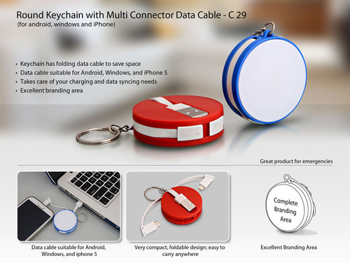 Round Keychain With Data Cable