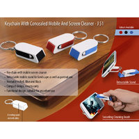 Keychain with concealed mobile stand and screen cl