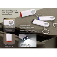 Double LED Ezee push keychain with Magnifier