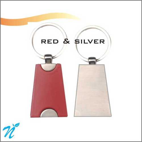Metal Keychain Red & Silver