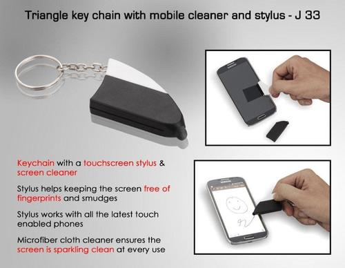 Triangle Keychain With Mobile Cleaner And Stylus