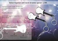 Guitar Keychain With Torch & Bottle Opener