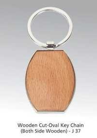 Wooden Cut Oval Key Chain (Both Side Wooden)