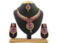 Red Blue Alloy Necklace Set