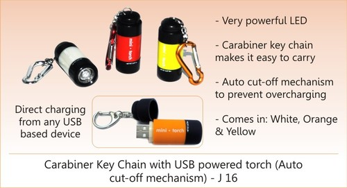 USB Chargeable Torch with Keychain