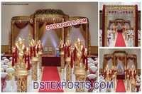 Wedding Fiber Golden Carved Mandap Set