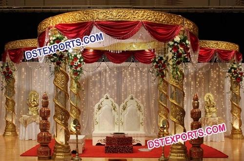 New Design Wedding Gold Fiber Crystal Mandap