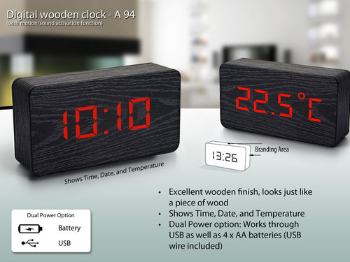 Digital wooden clock (big size)