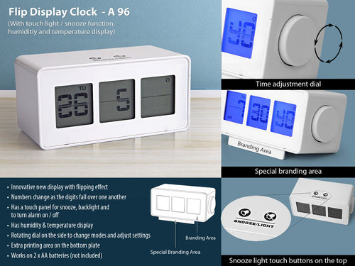 Flip display clock with touch light / snooze funct