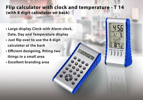 Calculator with clock & Temperature