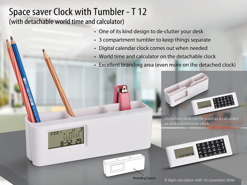 Space Saver clock with Tumbler