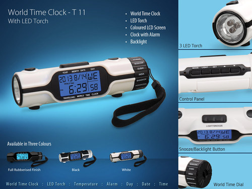 world Time Clock with LED Torch