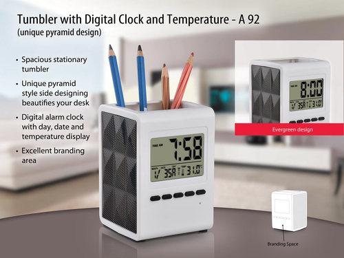 umbler with digital clock and temperature