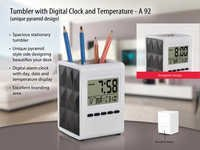 umbler with digital clock and temperature