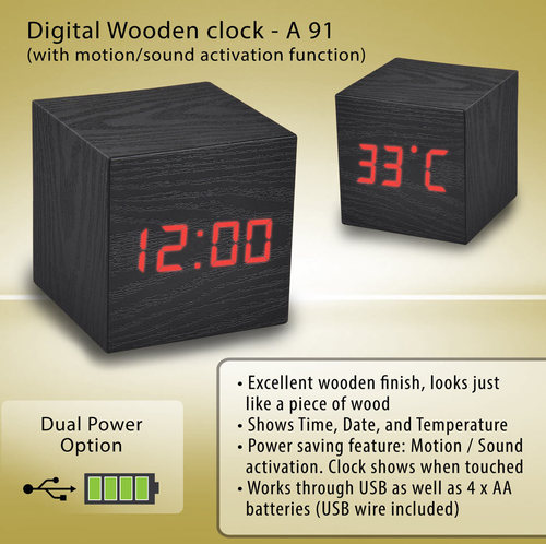 Digital Wooden Clock