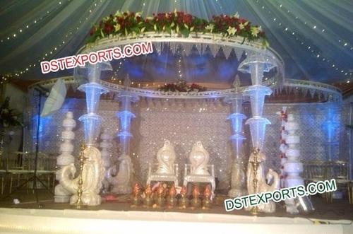 Wedding Peacock Crystal Umberala Mandap Set