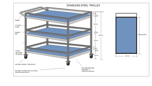 ESD Stainless Steel Trolley