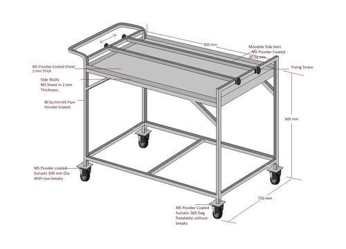 MS Trolley 2 Shelves With Adjustable Bars