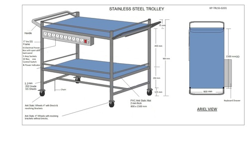 SS Trolley - 2 Shelves - & Elect Socket 3-2