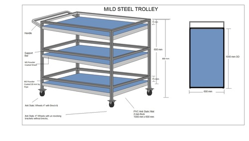 MS Powder Coated Trolley
