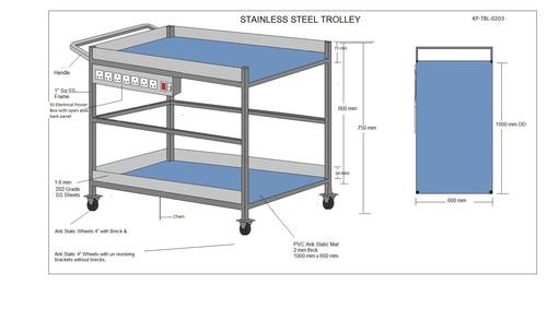 SS Trolley - 2 Shelves - & Elect Socket