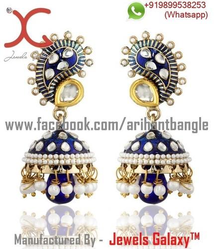 Jewels Galaxy Blue Meenakari Kundan Jhumka