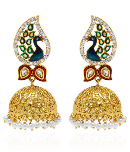 Jewels Galaxy Hand Crafted Meenakari Mayur Jhumka