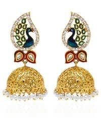 Jewels Galaxy Hand Crafted Meenakari Mayur Jhumka