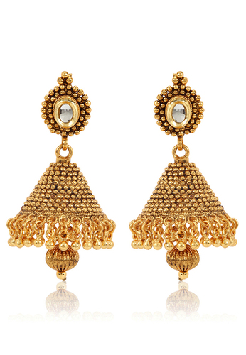 Jewels Galaxy Kundan Studded Golden Jhumka