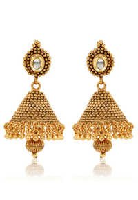 Jewels Galaxy Kundan Studded Golden Jhumka