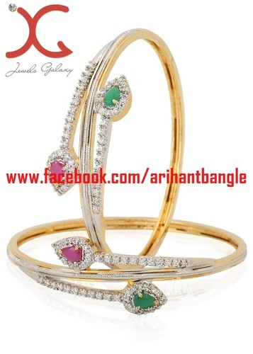 Jewels Galaxy Hand Crafted Ruby Green American Diamond Studded Bangles